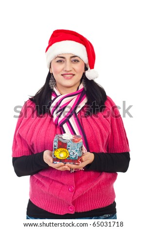 Beauty woman holding small Christmas gift box isolated on white background