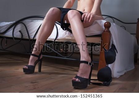 beauty woman in bedroom wear lingerie - stock photo