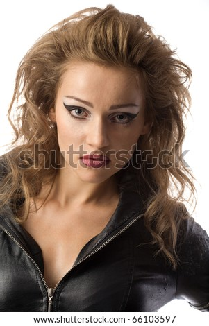 beauty woman in leather overalls over white background