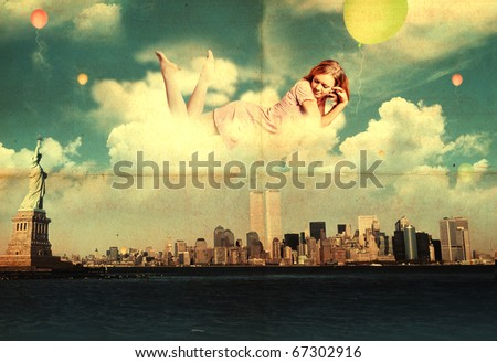 beauty woman in the clouds over new york city - stock photo