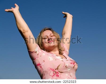 beauty woman in the sun - stock photo
