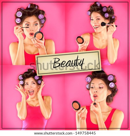 Beauty woman makeup concept collage series on pink. Woman applying make up, lipstick, mascara and blush getting ready to go out. Beautiful multiracial Asian Chinese / Caucasian girl on pink background