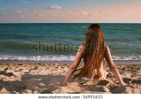 beauty woman on sea under sky