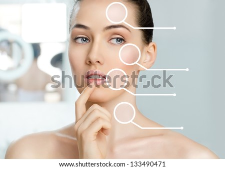 beauty woman on the bathroom background - stock photo