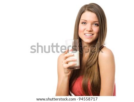 Beauty woman portrai with glass milk - stock photo