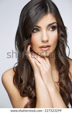 Beauty woman portrait. Close up. Isolated. - stock photo