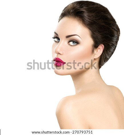 Beauty woman portrait isolated on white background. Beautiful model girl face makeup. Gorgeous lady with blue eyes and brown hair. Perfect skin. Professional make up. Red lips - stock photo
