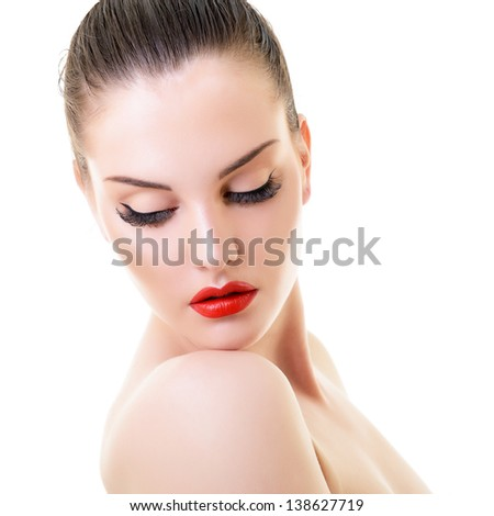 beauty woman, portrait of girl with beautiful makeup looking down, isolated on white background - stock photo