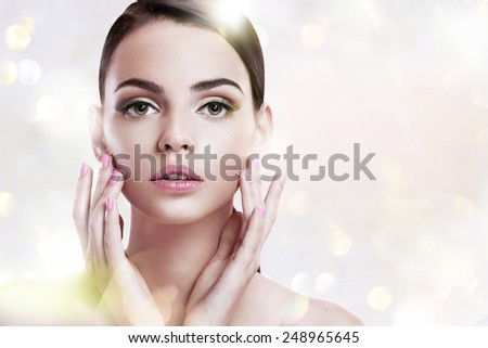 Beauty woman portrait of teen girl with clean skin / photoset of attractive brunette girl on blurred background with bokeh  - stock photo