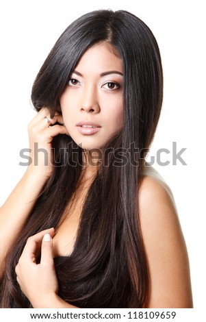 beauty woman portrait of young beautiful girl with long black hair and clean skin over white - stock photo
