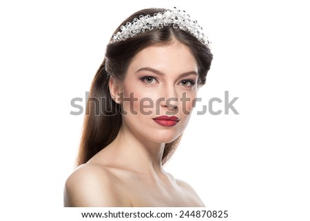 Beauty Woman Portrait. Professional Makeup for Brunette with  - Red Lipstick. Beautiful Fashion Model Girl Face. Perfect Skin. Make up. Isolated on a White Background. - stock photo