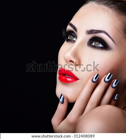 Beauty Woman Portrait. Professional Makeup. Red Lipstick. Beautiful Fashion Model Girl Face. Beauty Red Lip. Perfect manicure.