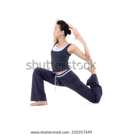 beauty woman stand in yoga pose isolated - stock photo