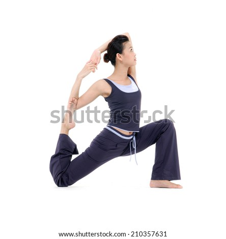 beauty woman stand in yoga pose isolated-in studio - stock photo