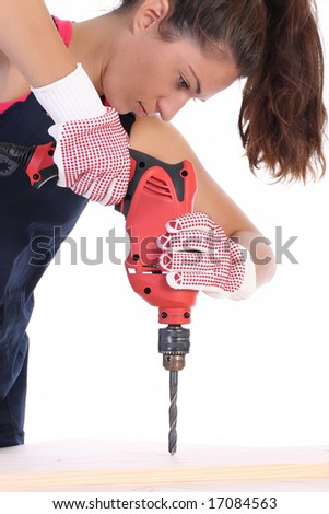 Beauty woman with auger on work place