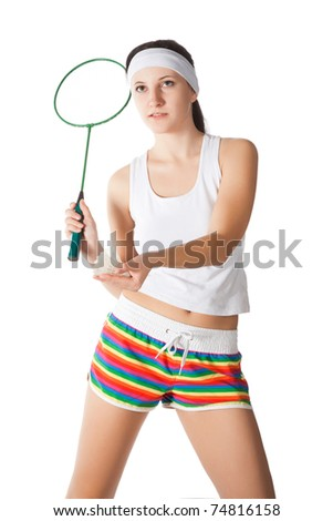 beauty woman with badminton racket isolated on white - stock photo