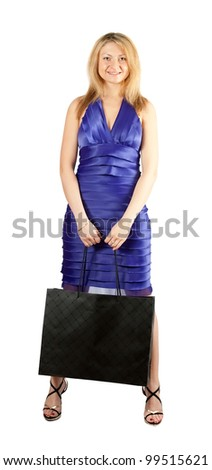 Beauty woman  with black bag on white backdrop - stock photo