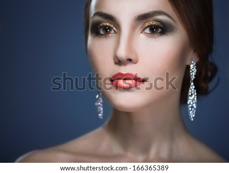 beauty woman with bright make-up  soft focus - stock photo