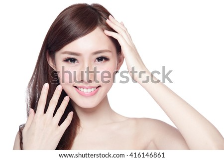 Beauty woman with charming smile to you with health skin, teeth and hair isolated on white background, asian beauty - stock photo
