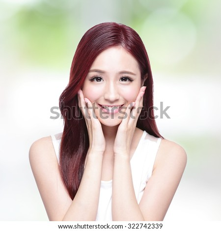 Beauty woman with charming smile to you with health skin, teeth and hair with nature green background, asian beauty - stock photo