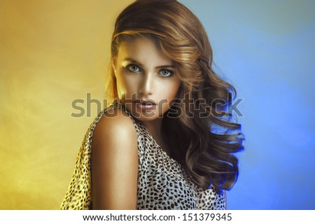 Beauty Woman with curly hair - stock photo