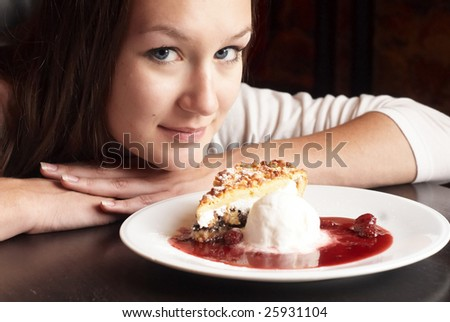 Beauty woman with dessert cake and ice cream - stock photo