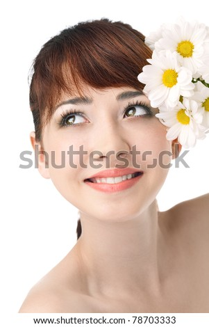Beauty woman with flower over white background - stock photo
