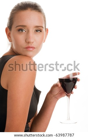 Beauty woman with glass of red wine - stock photo