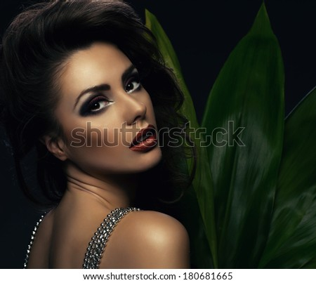Beauty woman with leafs  - stock photo