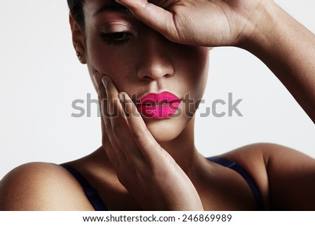 beauty woman with perfect lips - stock photo