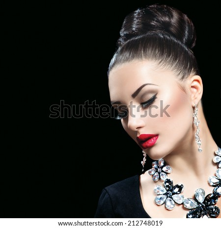 Beauty Woman with Perfect Makeup and luxury accessories.  - stock photo