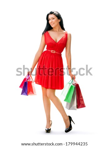 Beauty Woman with Shopping Bags, isolated on white