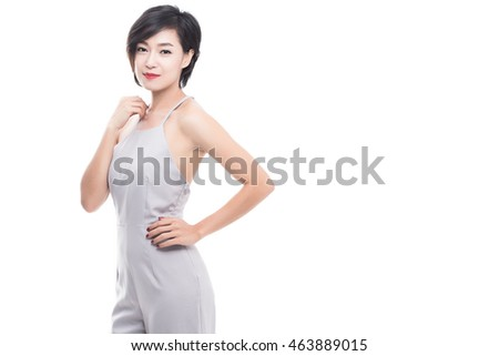 Beauty woman with smile to you with health skin, Isolated on white background, asian beauty.
