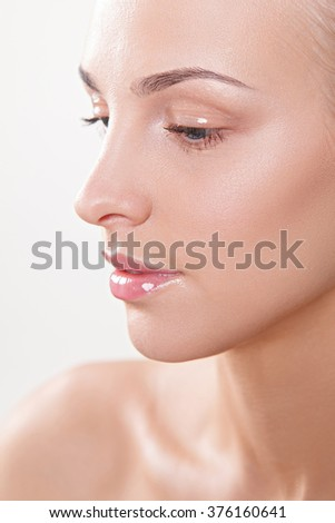beauty women with nude makeup - stock photo