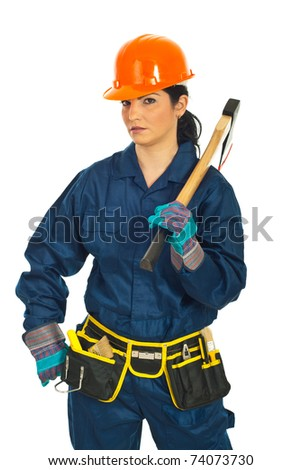 Beauty worker woman in uniform holding hatchet isolated on white background