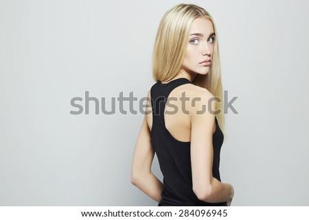 Beauty Young blond woman.Beautiful blonde Girl - stock photo