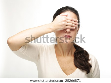 Beauty young business woman covering eyes