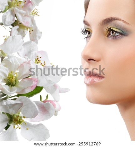 beauty young caucasian attractive woman portrait isolated on white background spring flowers face skin makeup eyes lips closeup studio shot - stock photo