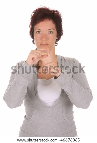 "beauty young deaf person hand demonstrating, ""P"" in the alphabet of signs - stock photo"