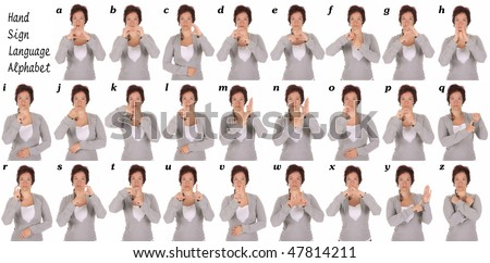 beauty young deaf person hand demonstrating, the alphabet of signs - stock photo