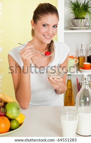 Beauty, young girl eating cereal and fruit