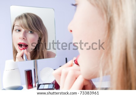 Beauty - young girl make-up - stock photo