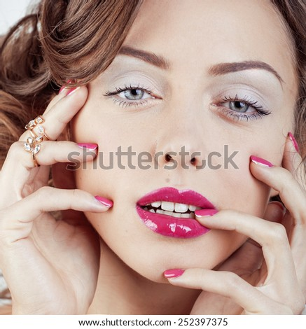 beauty young luxury woman with jewellery, rings, nails close up on white special blonde