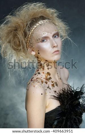 Beauty young model.Fashion Art Woman Shooting in the Studio. - stock photo