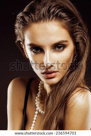 beauty young sencual woman with jewellery close up, luxury portrait of rich real girl, party makeup - stock photo