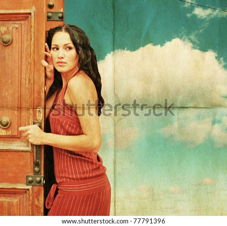 beauty young sexy woman, vintage collage, blue sky - stock photo