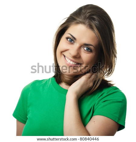 Beauty young smiling woman portrait with clean skin, studio isolated over white background, square image - stock photo