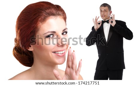 Beauty Young Woman and Elegant Man in tuxedo. Love Concept. Valentines Day.