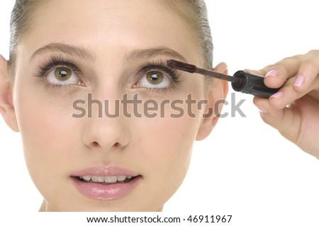 beauty young woman applying eyeshadow using cosmetic applicato - stock photo