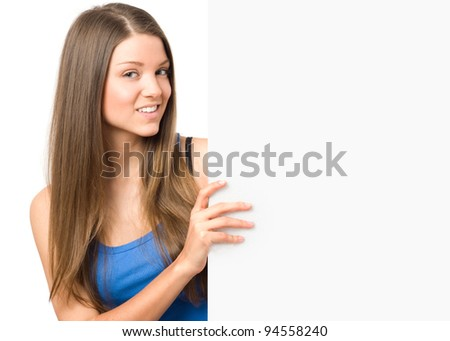 Beauty young woman holding bulletin board - stock photo